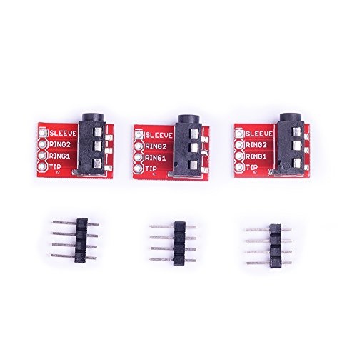 Cylewet 3Pcs TRRS 3.5mm Stereo Audio Jack Breakout Board Headphone Video MP3 Jack for Arduino (Pack of 3) (Audio Jack Board)
