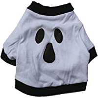 Zehui Halloween Devil Pet Dog T shirt Cat Clothes White Cotton Ghost Vest Puppy Party Costume White L