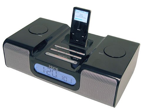iHome iH5 Clock Radio and Speaker System for iPod (Black) (Nano Dock Radio With Ipod Clock)