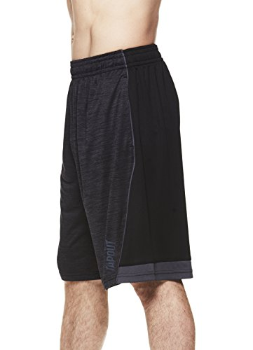 TapouT Men's Performance Polyester Workout Gym & Running Shorts w Pockets - 11 inch Inseam - Black Heather New Blood, (Tech Trainer Shorts)