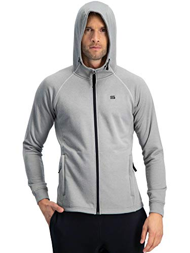 (Sweatshirts for Men Zip Up Hoodie - Dry Fit Full Zip Jacket, French Terry Fabric Light Grey)