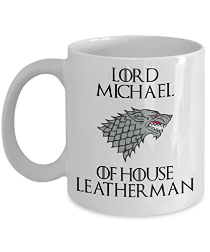 Game Of Thrones Mug | Custom Personalized Text | Direwolf Sigil | 11-oz White Ceramic Mug Cup | Great For Coffee, Tea, Hot Chocolate | Perfect Mother's Day Gift! ()