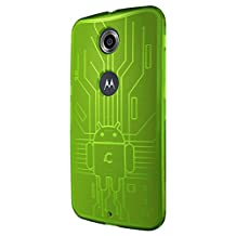 Nexus 6 Case, Cruzerlite Bugdroid Circuit TPU Case Compatible for Google Nexus 6 / Motorola Nexus 6 (2014 Release) - Green