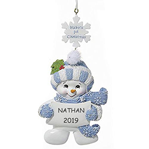 (Personalized Baby's 1st Christmas Snowman Ornament (Blue))