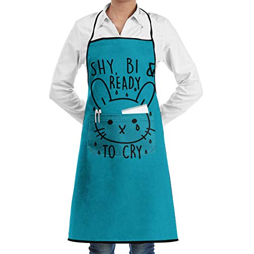Shy, Ready to Cry Cooking Apron Kitchen Apron with 2 Pockets,Customized Multipurpose Waterproof -