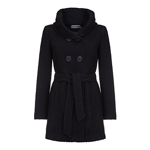 Anastasia Black Tweed Women's Hooded Belted Winter Coat, Size 6 Belted Tweed Coat