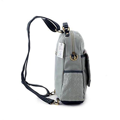 Borsa creativa multifunzionale della borsa a tracolla doppia (32 * 12 * 35CM) (grigio) della stampa di marca di modo delle donne dell'unità di elaborazione Zaino delle ragazze delle signore delle donn