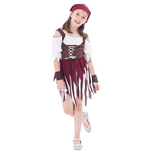 Pirate Princess Dress (Halloween Costume Pirate Girl High Seas Buccaneer Dress, Role Play & Dress Up, 3Pcs (dress, head scarf, wristband ) (3-4Y))