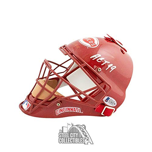 Johnny Bench ACT 99 Autographed Cincinnati Reds Mini Catchers Mask Helmet - BAS - Beckett Authentication ()