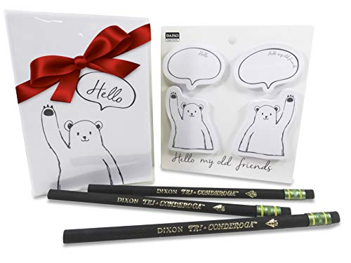 (Hello There Bears Notebook with Sticky Notepads and 3-Sided Comfortable Pencils (Fun 8 Piece Set))