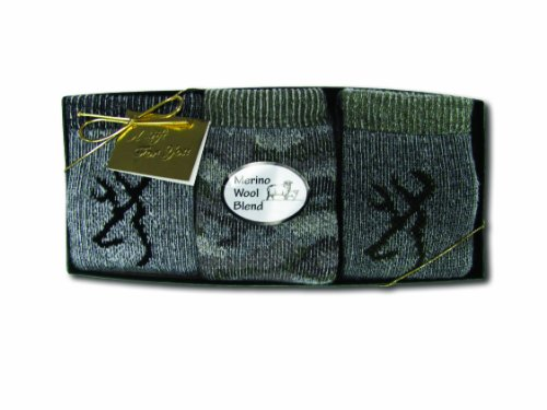 Acrylic Wool Blend - Browning Hosiery Boy's Gift Box-Pack of 3, Green, Small