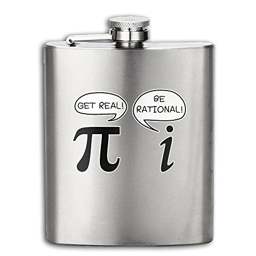 Cup Ramen Costume (Get Real Be Rational Pi Flasks Stainless Steel Liquor Flagon Retro Rum Whiskey AlcoholPocket Flask Liquor Flagon Retro Rum Whiskey Flask Great Gift 7OZ Lightweight)