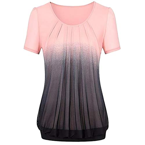 FarJing Women Casual Gradient Color Printed Pleated Plus Size T-shirt Tops Blouse(3XL,Pink)