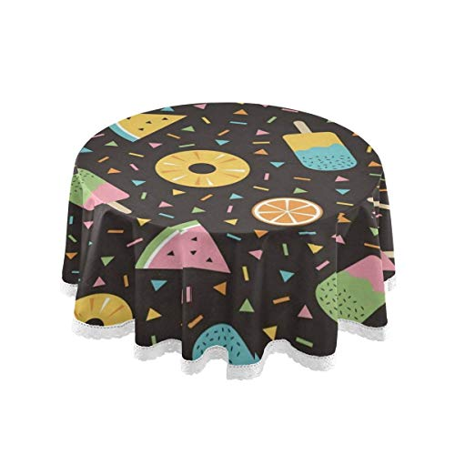 EJudge Round Tablecloth Colorful Donut Waterlemon Ice Cream Round Lace Table Cloth Fabric Circular Table Cover for Holiday Home Party Picnic Coffee Dining Table Decorations 60""