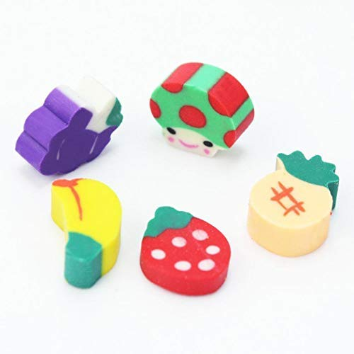 Goodfans 50 Pcs/bag Children Students Casual Cute Mini Fruit Toy Eraser Stationery Tool Cartoon Toy Pen Erasers by Goodfans (Image #3)