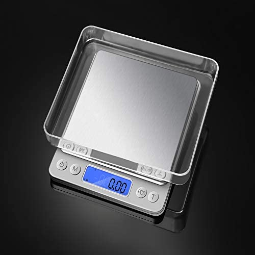 Bilance da Cucina Digitale, Bilance da Cucina in Acciaio Inossidabile Ultra Sottile per Alimenti, Display LCD, Bilancia da Cucina Facile da Pulire (3000g/0.1g)