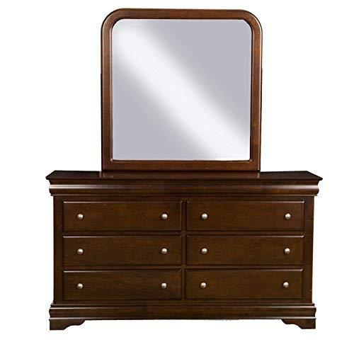 Alpine Furniture 3201/3203 Chesapeake Dresser and Mirror Set, Brown Merlot