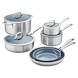 "NEW! 10-piece CeraForce Nonstick Stainless Steel ""SCRATCH-RESISTANT"" 3-Ply Cookware with Aluminum Core, Silver Ceramic Finish"