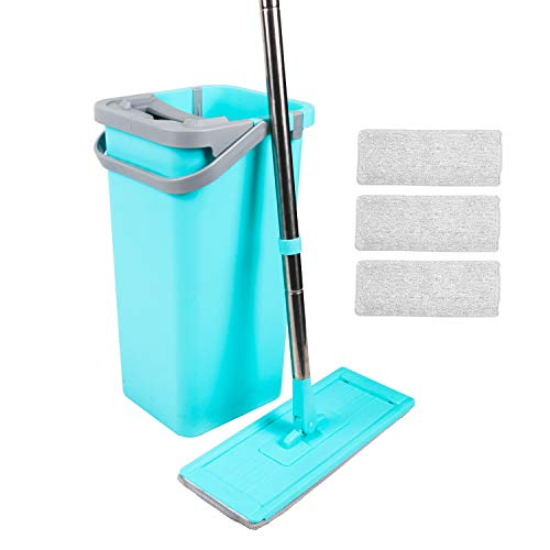 MagicLux Tech Mop & Bucket for Kitchen Floor Cleaning with 4 Washable Microfiber Mop Pads 360 Degree Rotated Mop Head Stainless Steel Pole