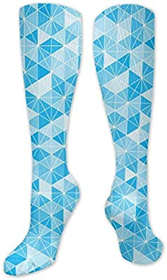 Amazon.com: Blue_hexgrid_Pattern Polyester Cotton Over Knee ...