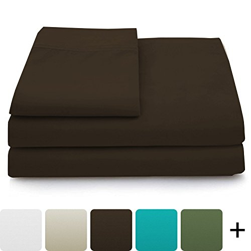 Cosy House Collection Luxury Bamboo Bed Sheet Set - Hypoallergenic Bedding Blend from Natural Bamboo Fiber - Resists Wrinkles - 3 Piece - 1 Fitted Sheet, 1 Flat, 1 Pillowcase - Twin XL, Chocolate
