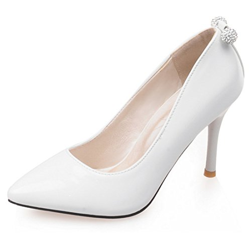 YE Damen Rote Sohle High Heels Pumps Spitze Lack Stiletto 7cm Absatz mit Strass Elegante Schuhe Weiß