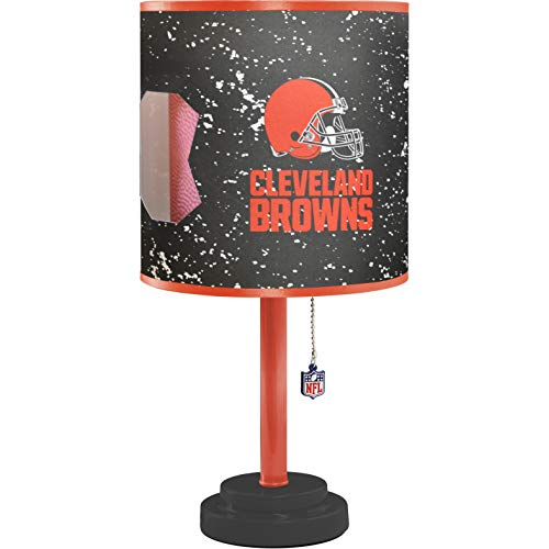 - MISC NFL Cleveland Browns Table Lamp Large, 18 Inch Desk Lamp with Shade Sports Pattern Cute Football Themed Nightstand Lamp Team Logo for Fan Team Spirit Fan Black, MDF Plastic