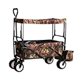 Folding Utility Cargo Wagon Cart for Beach, Camping, Groceries w/Removable Canopy, Cup Holders - Camouflage