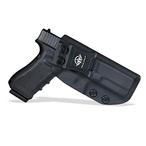 IWB Kydex Holster Custom Fit: Glock 17 / Glock 22 / Glock 31 (Gen 1-5) Pistol - Inside Waistband Concealed Carry - Adj. Cant Retention - Cover Mag-Button - No Wear - No Jitter