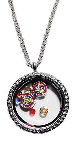 DC Comics Wonder Woman Round Crystal Floating Charms Locket Necklace]()