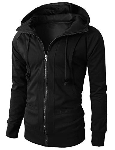 (DressU Men's Pocket Long-Sleeve Zip Fleece Casual Hood Sweatshirts Outwear Black M)