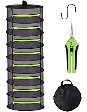 Yorsvueghe Herb Drying Rack, 2ft 8 Layer Collapsible Hanging Black mesh Drying Rack with green zipper and garden scissors for Drying plant petals