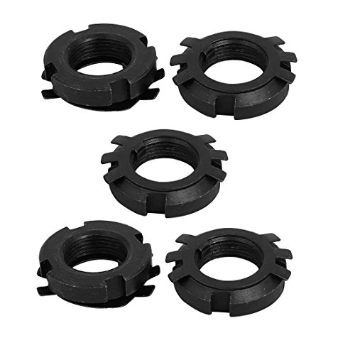 uxcell 5 Set M22x1.5mm Thread Carbon Steel Left Hand Bearing Lock Nut w Locking Washer