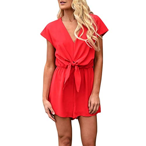 - TOTOD Jumpsuits Summer Sexy Blackless V Neck Short Sleeve Holiday Beach Rompers Shorts Playsuit(Red,XL)