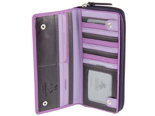 Visconti RB 55 Multi Colored Ladies Soft Leather Checkbook Wallet And Purse (Lilac Multi)