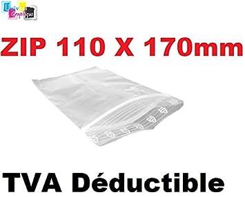 Juego de 100 bolsas 110 x 170 mm, cierre con cremallera, transparente. Bolsita cierre Zip 11 x 17 cm 50u bolsa plástico Compatible con alimentos y ...