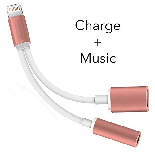 2 in 1 iPhone 7 Adapter & Splitter,  Adapter and Charger, to 3.5mm Aux Headphone Jack Audio Adapter for iphone 7 / 7 plus (Rose Gold)