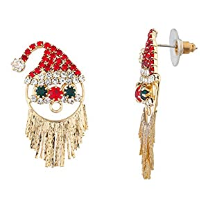 Lux Accessories Red Green Crystal Rhinestone Santa Claus Goldtone Stud Earrings