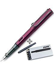 Lamy AL-Star Fountain Pen (M) & 5 Black Ink Cartridges (Black Purple)