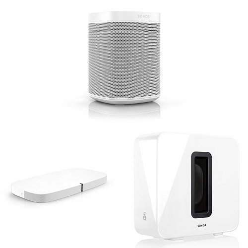 Sonos One – Voice Controlled Smart Speaker with Amazon Alexa Built In (White), PLAYBASE for Home Theater and Wireless Subwoofer (White) by Sonos