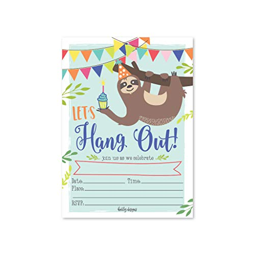 - 25 Sloth Kids Birthday or Slumber Party Invitations, Baby Shower Invite, Boy or Girl Sleepover Themed Celebration, Children or Toddler Bday Theme Printable Supplies, Printed or Fill In the Blank Cards