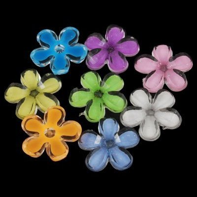 DIY Jewelry Making: 12 pcs of Colorful Acrylic Flower Cabochons, with Glitter Powder and Enamel, Faceted, Mixed Color