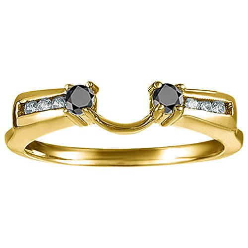 Black&White Diamond Ring Wrap Jacket in 10k Yellow gold (G-H,I1)(0.31Ct) Size 3 To 15 in 1/4 Size Interval ()