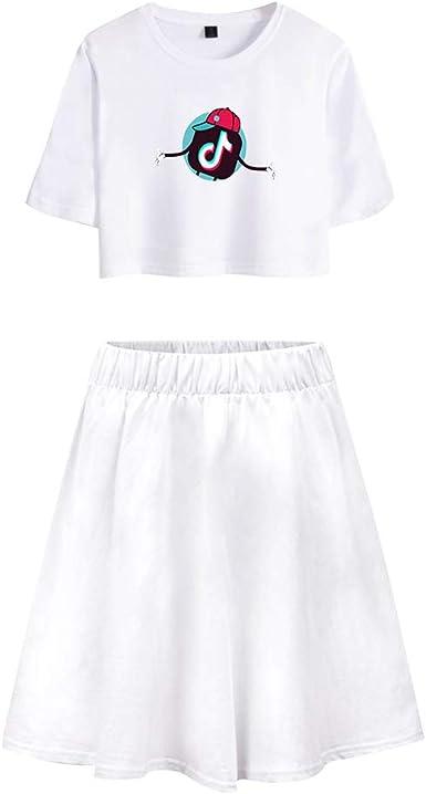 TIK TOK Camiseta y Falda Adolescente Chica Camiseta de Manga Corta ...