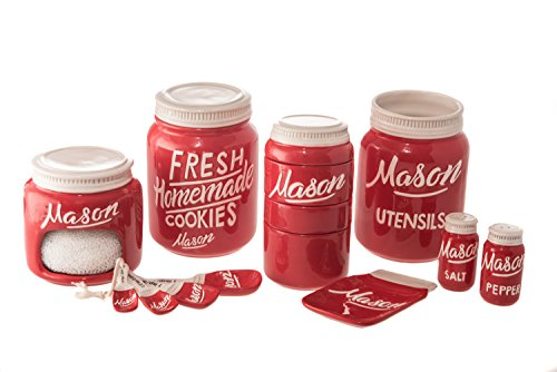 Mason Jar Ceramic 7 Piece Complete Kitchenware and Measuring Set (Red)