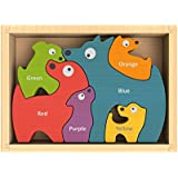 BeginAgain Dog Family Puzzle with Curriculum - Toddler Puzzle Game and Child's Toy for Playing, Stenciling, AND as a Bilingual Learning Tool! - Educational Toy for 2 Year Old's and Up