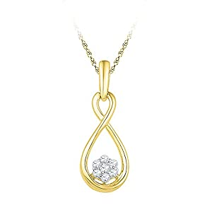 Diamond Pendant 10kt Yellow Gold Infinity Cluster 1/8 Cttw(I2/i3, i/j)