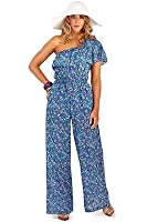 ladies ditsy floral print summer jumpsuit playsuit all in one size 8 10 12 14