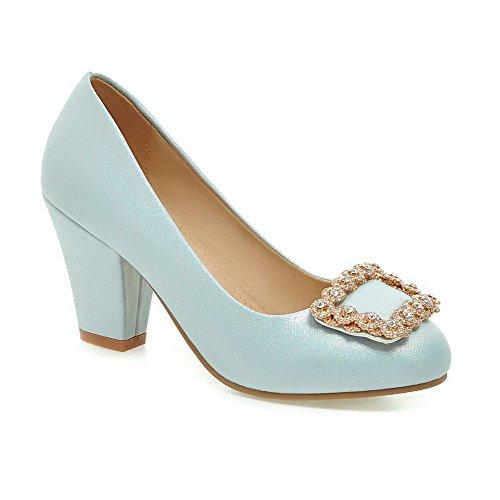 Amoonyfashion shoes Su Pompe Solido Pu Tacchi Punta Tiro Blu Femminile Rotondo Chiuso Zzw5pq
