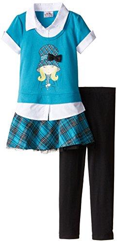 Beautees Little Girls' Collar and Cuff Leg Set, Teal, 6X